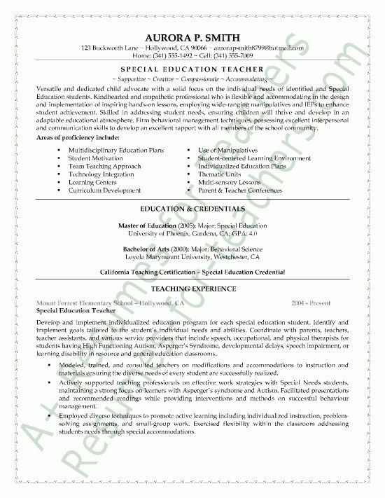 Resumes For Experienced Teachers - Best Letter Sample