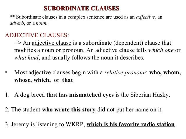 Subordinate clauses