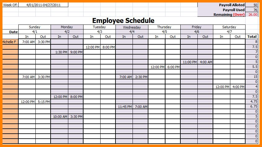 8+ employee schedules templates - mail clerked
