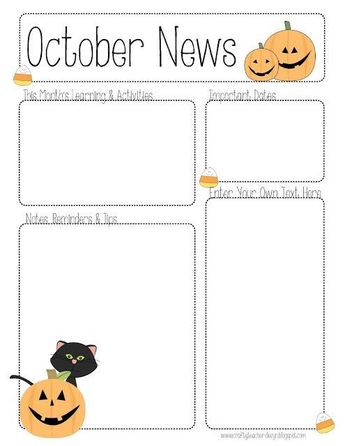 October Preschool Newsletter Template | November Newsletter for ...