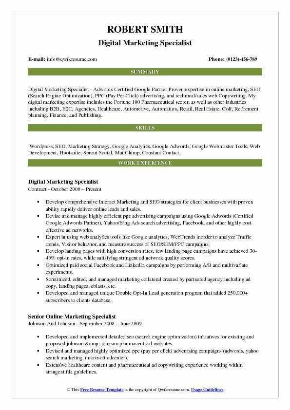 Digital Marketing Resume. Digital Marketing Resume How To Write A ...