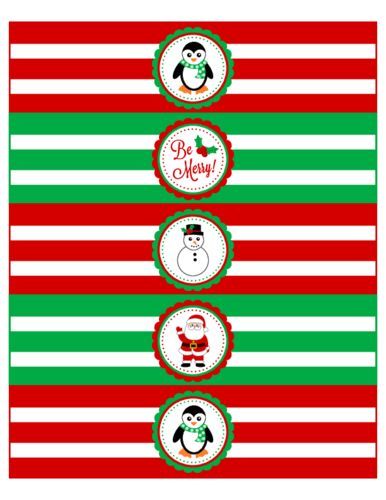 Christmas Themed Water Bottle Labels - Label Templates - OL1159 ...