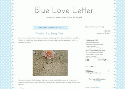 Blogger Candy - Free Blogger + Blogspot templates: Blue Love Letter