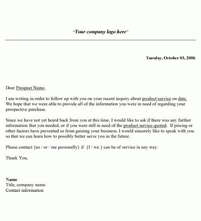 Sales Follow Up Letter Template | Letter templates, Free printable ...