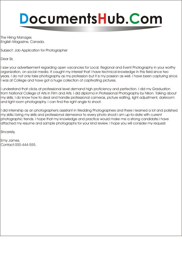 Cover Letter For Photography | haadyaooverbayresort.com