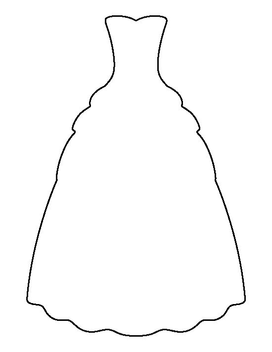 Gown pattern. Use the printable outline for crafts, creating ...