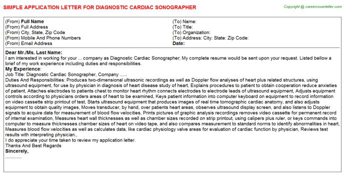 Diagnostic Cardiac Sonographer Application Letters