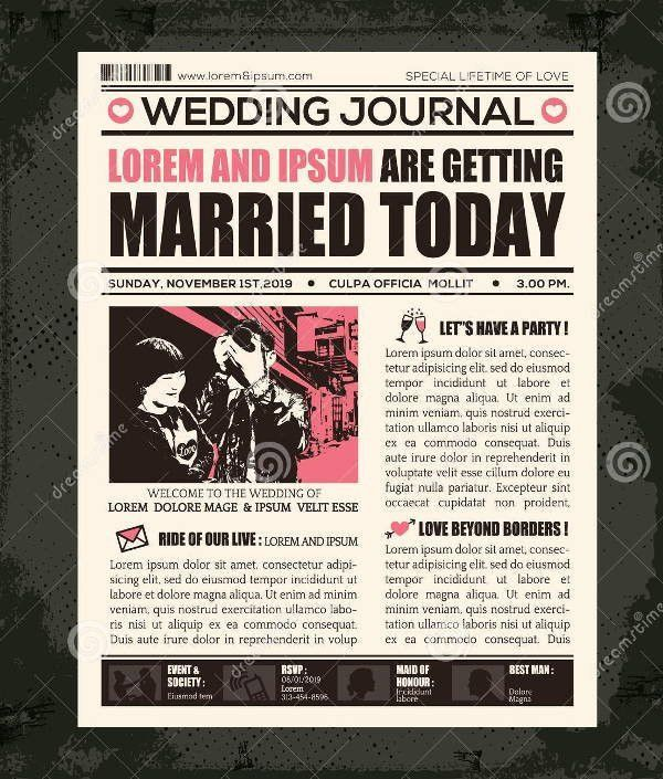 Wedding Newspaper Template Free | Best Template Examples