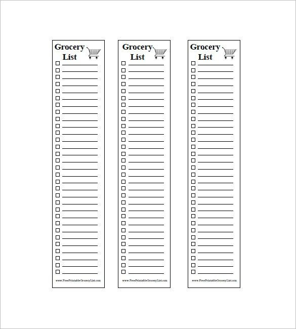 8+ Blank Grocery List Template - Free Word, Excel, PDF Format ...