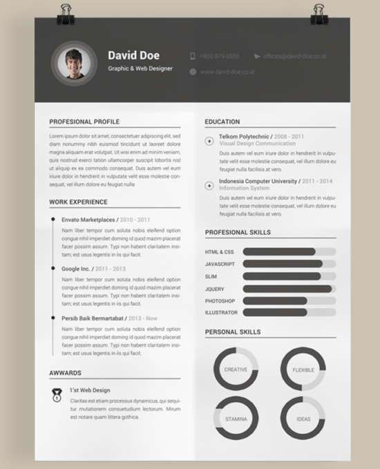 30 Free Professional Resume Templates for Designers - XDesigns
