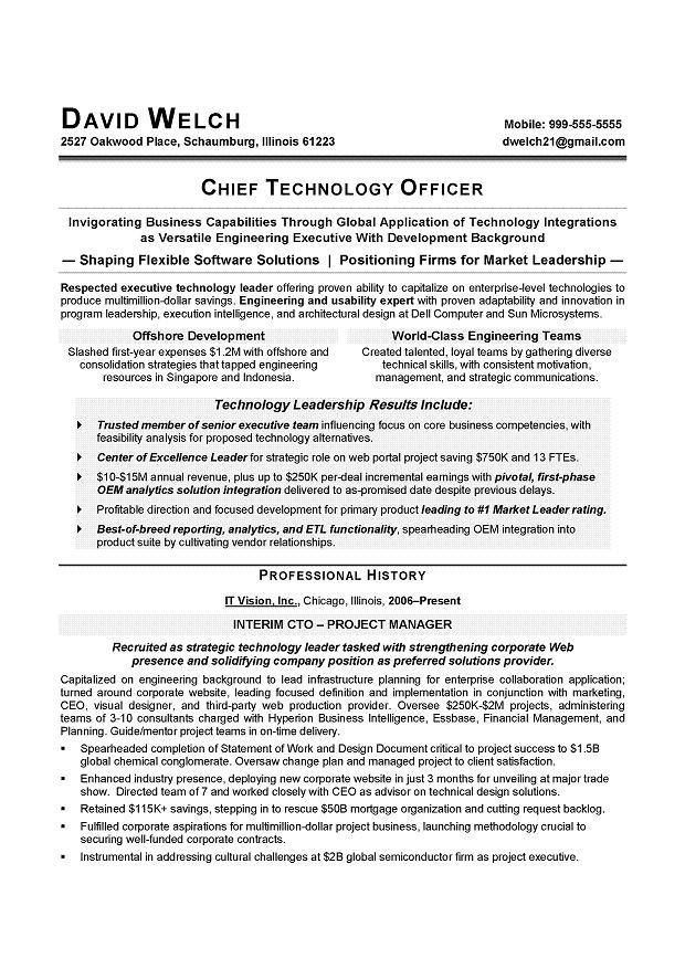 CIO Sample Resume - CTO Sample Resume - IT Executive resume writer.