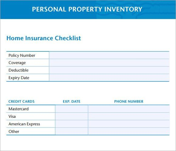 Sample Property Inventory Template   9+ Free Documents Download In PDF