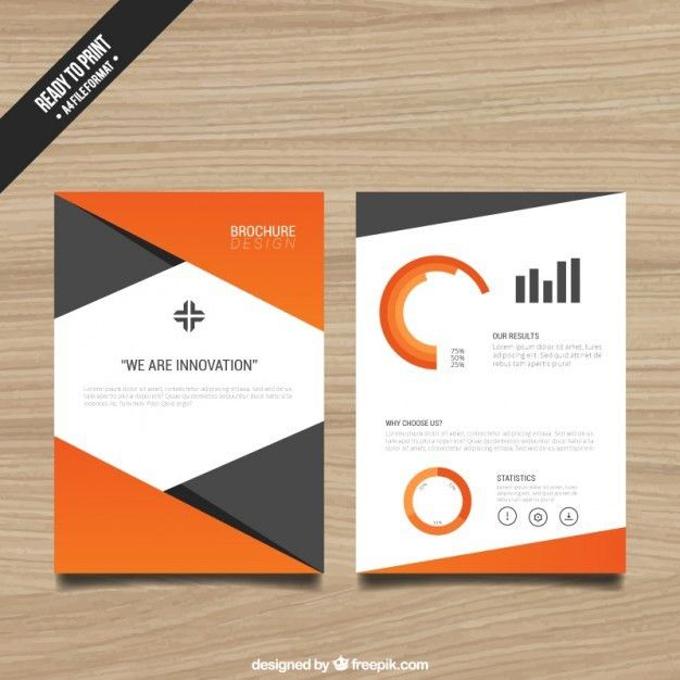 Brochure template with orange elements Vector | Free Download