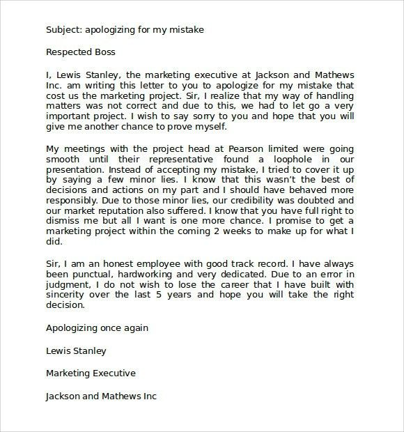 Humble Apology Letter - Best Template Collection