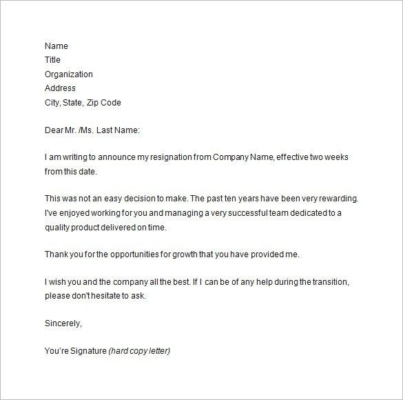 Two Weeks Notice Letter - 9+ Free Sample, Example, Format Download ...