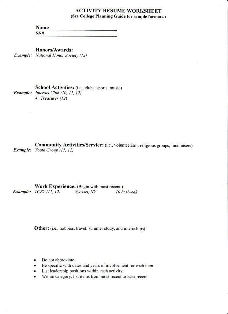 High School Resume For College Template. Student Worker Resume ...
