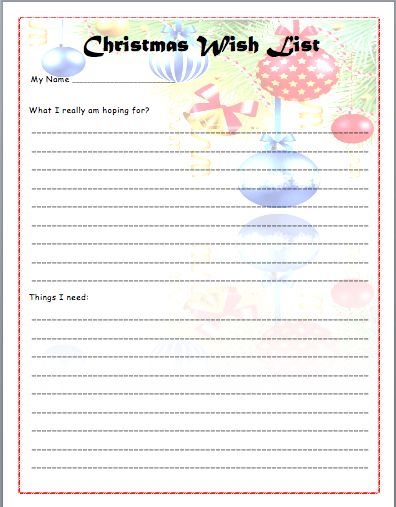 Colorful Christmas Wish List Template Sample For Children : Vlcpeque