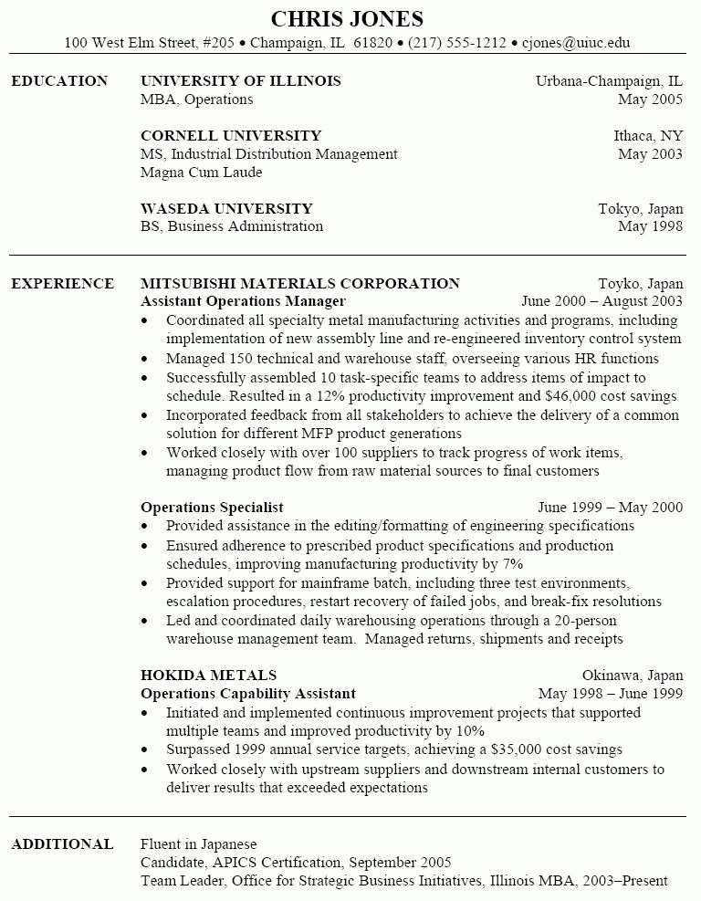 Sample Operations Management Resume