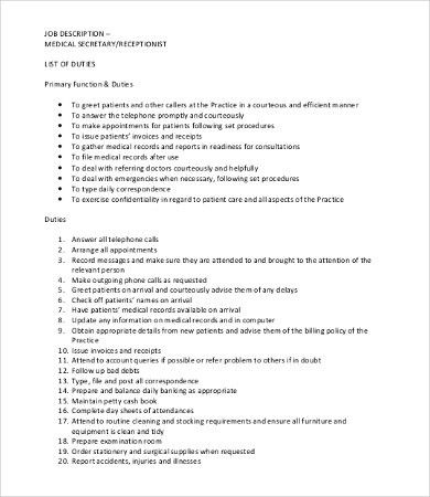 Secretary Job Description Template - 9+ Free Word, PDF Format ...