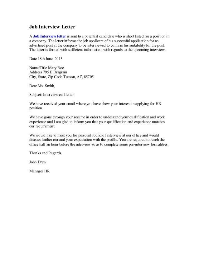 Formal Interview Letter. Job Cover Letter Sample 48+ Examples Of ..