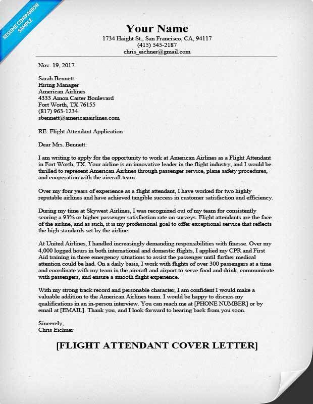 Flight Attendant Cover Letter Sample & Helpful Tips | Resume Companion