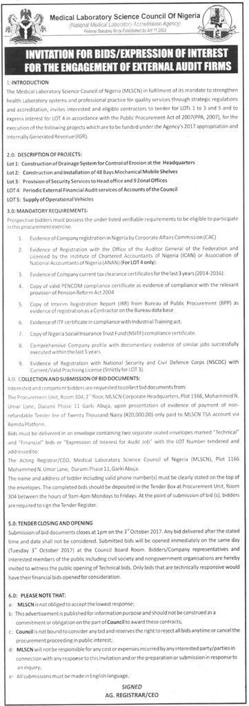 Medical Laboratory Science Council Of Nigeria – Invitation for ...