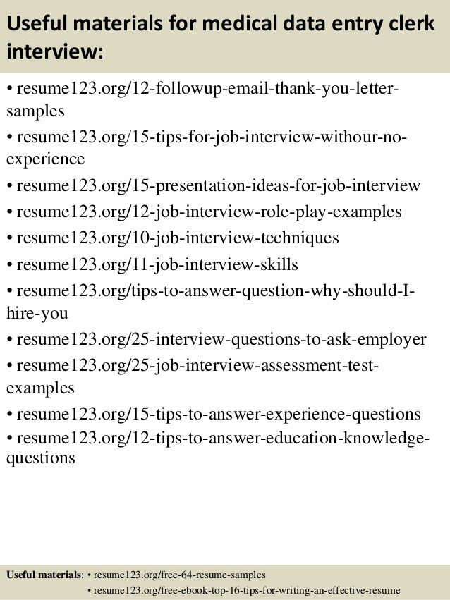 Top 8 medical data entry clerk resume samples