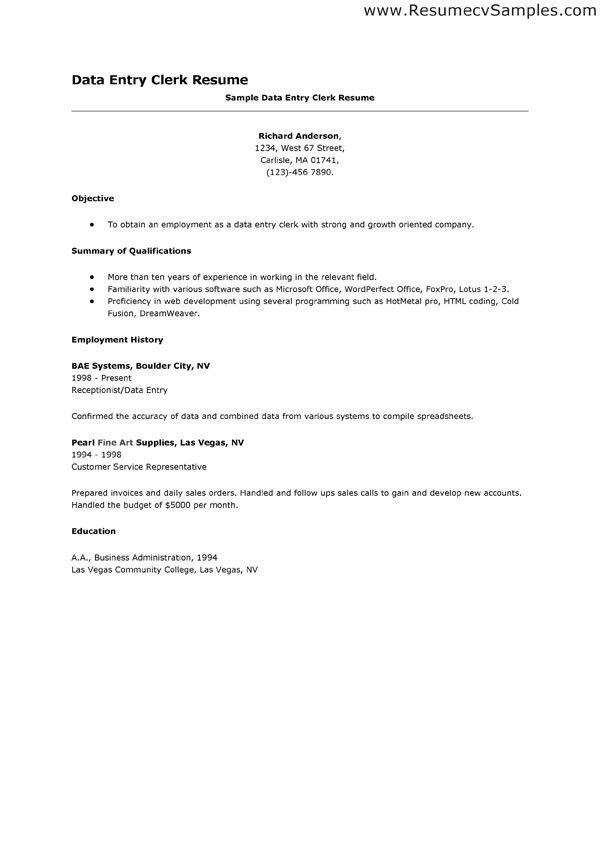 Inspiring Data Entry Clerk Skills Resume 42 For Create A Resume ...