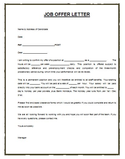 Job Offer Letter Template Layout Archives - Payslip Templates