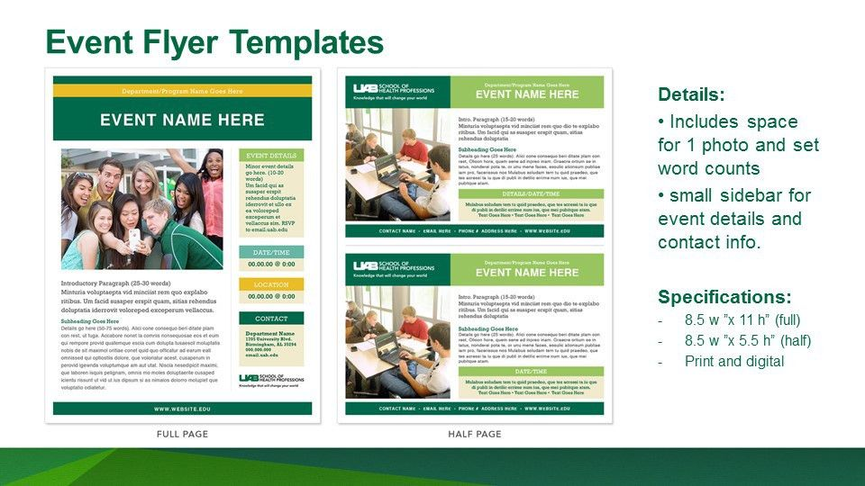 UAB - School of Health Professions - DIY Templates