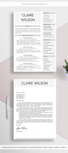 Modern Resume Template for Word and Pages (1, 2 & 3 Page Resumes + ...