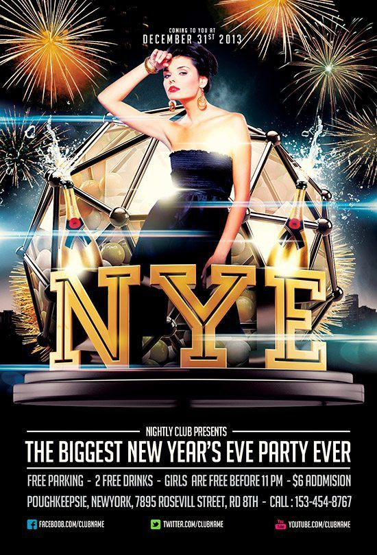 Free NYE Flyer Template by Saltshaker911 - Download for Photoshop
