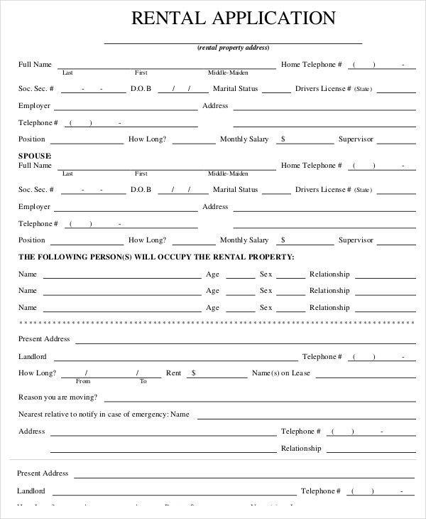 Tenant Information Form. Property Rental Application Form Template ...