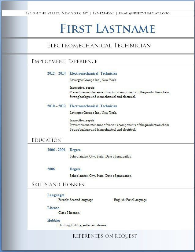 Download Resume Template On Word | haadyaooverbayresort.com