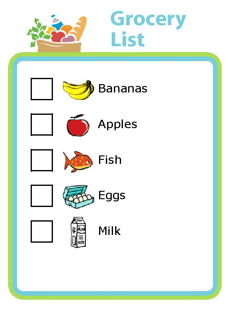 Grocery Shopping List with Pictures for Kids - The Trip Clip