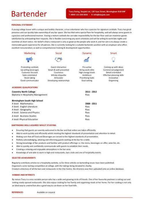 Bartender Resume Template - http://jobresumesample.com/767 ...