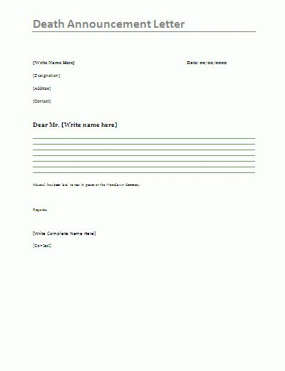 Death announcement letter is mostly written for announcing the ...