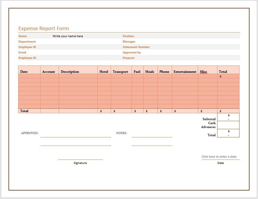 Free Expense Report Form – Microsoft Word Templates