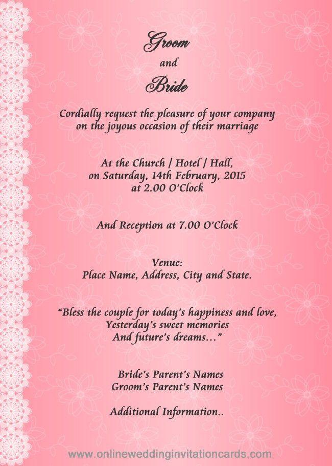 Format Of Marriage Invitation Card - Festival-tech.Com