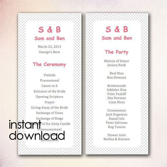 20 best DIY Wedding Program Templates - Instant Download images on ...