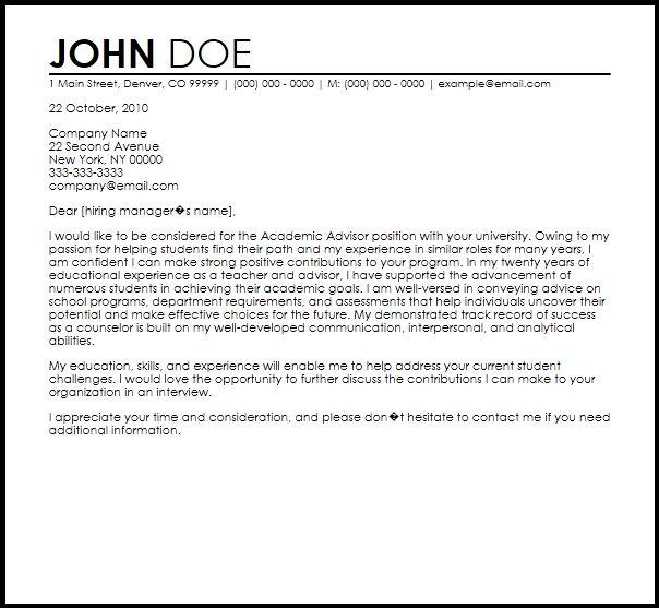 Free Academic Advisor Cover Letter Templates | CoverLetterNow