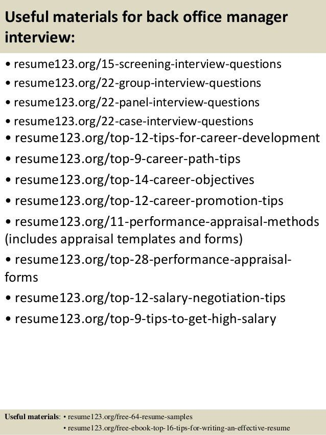 Top 8 back office manager resume samples
