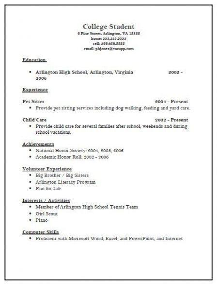 College Application Resume Sample | jennywashere.com