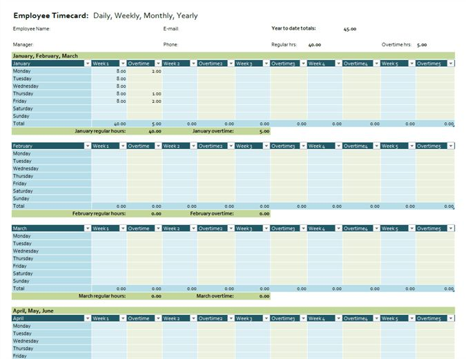 Employee timecard - Office Templates