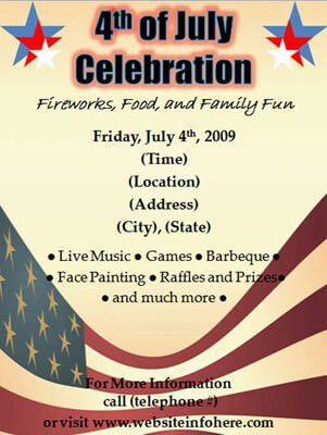 4th of July Flyers - Fourth of July celebrations
