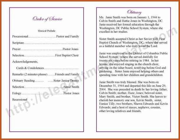 Sample Memorial Program Template. Funeral Program Template Sample ...