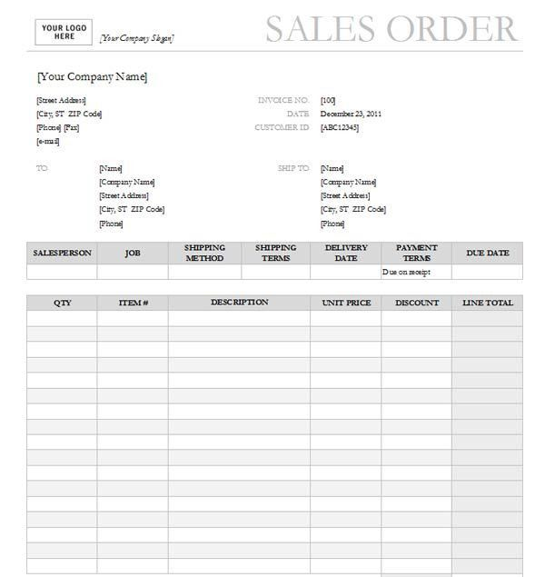 Sales Order Templates - Find Word Templates