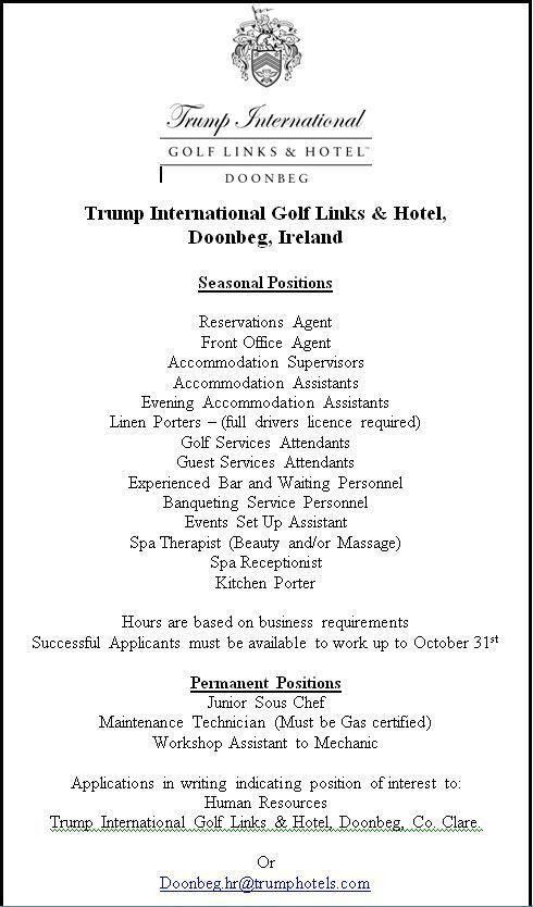 Trump International Golf Links & Hotel Ireland | LinkedIn