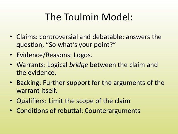 Types of Argument and Toulmin Analysis