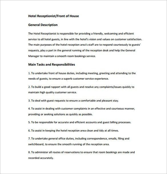 Receptionist Job Description Template – 9+ Free Word, PDF Format ...